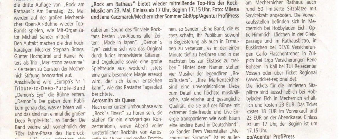Bürgerbrief Pressetext Rock am Rathaus 2020
